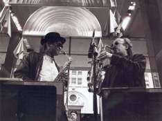 In duo with Bobby Watson (Randy Brecker (trumpet) in the background), Mingus Big Band in NYC