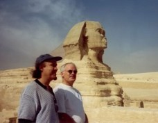 Steve with Dennis Irwin (bass) at the Sphinx in Egypt on tour with Vanguard Orchestra, late 90's