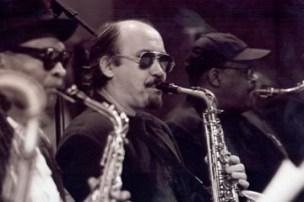Steve with fellow Saxes � Bobby Watson, John Stubblefield Mingus Big Band, mid 90s