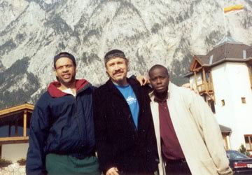 Steve with members of Mingus Big Band: Earl Gardner (trumpet) and Johnathan Blake (drums) at the Swiss Alps, mid 90s